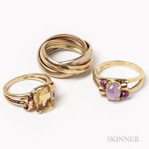 Two Retro 14kt Gold Gem-set Rings and a 14kt Tricolor Gold Three-band Ring