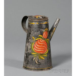 Paint-decorated Tinware Hot Chocolate Pot with Side Spout