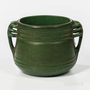 Green Handled Art Pottery Jardiniere