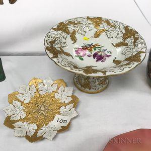 Meissen Porcelain Compote and Leaf Dish