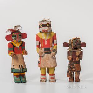 Three Hopi Polychrome Carved Wood Katsina Dolls