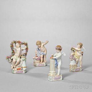 Four Meissen Porcelain Motto Figures