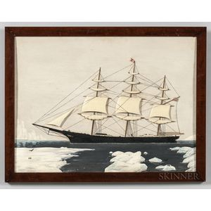 Carved Plaque of the Sailing Ship Red Jacket