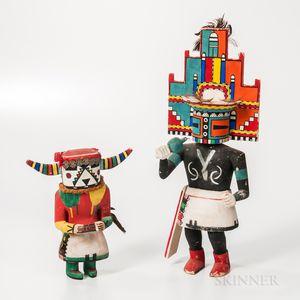 Two Hopi Polychrome Carved Wood Katsina Dolls