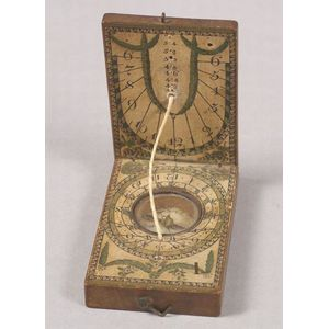 Fruitwood Diptych Compass and Sundial