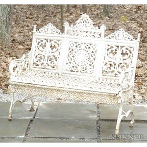White-painted Cast Iron Garden Seat.
