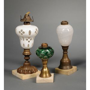 Three Victorian Art Glass Fluid Table Lamps