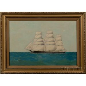 American School, 19th Century      Portrait of a Ship Sailing on a Calm Sea.