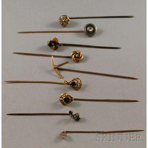 Small Group of Antique Gem-set Stickpins
