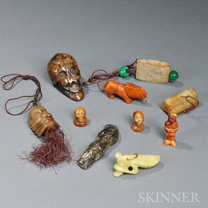 Ten Small Carved Stone Items