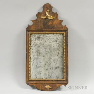 Small Continental Parcel-gilt Walnut Veneer Mirror
