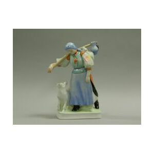 Zsolnay Handpainted Porcelain Figure of a Peasant Woman with a Dog.