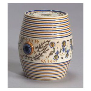 Polychrome Prattware Pottery Spirit Barrel