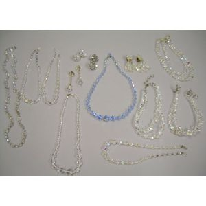 Eight Crystal and Aurora Borealis Necklaces and Four Pairs of Earrings.