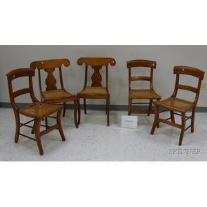 Assembled Set of Ten Classical Tiger Maple Side Chairs with Caned Seats