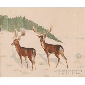 American School, Early 20th Century      Deer in a Winter Landscape.