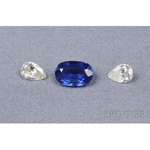 Unmounted Sapphire and Diamonds