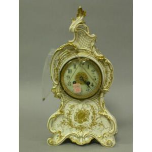 French Rococo-style Gilt Decorated Porcelain Chime Mantel Clock