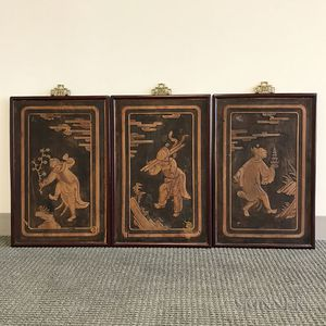 Set of Three Framed Wood Plaques