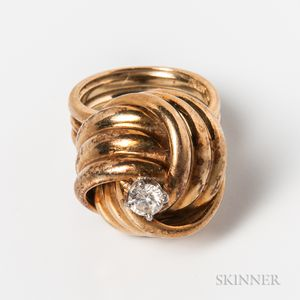 14kt Gold and Diamond Knot Ring