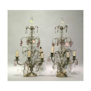 Pair of Tiered Candelabras with Lustres.