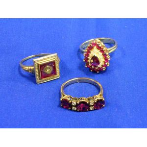 Three Gold, Ruby, and Diamond Rings