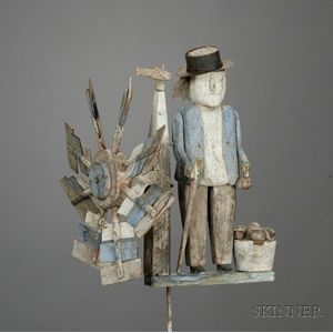 Carved and Painted Wooden Figural Whirligig