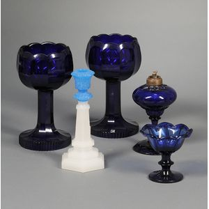 Five Colored Art Glass Table Items