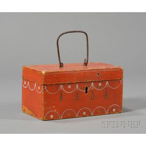 Small Red Painted and Decorated Document Box