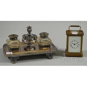 Waterbury Clock Co. Brass Carriage Clock and a Silver-plated Inkstand
