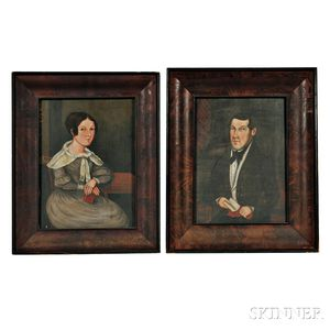 American School, Early 19th Century      Pair of Portraits of a Husband and Wife