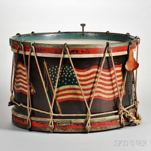 Paint-decorated Wooden Snare Drum