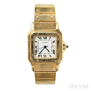 "18kt Gold ""Santos"" Wristwatch, Cartier"