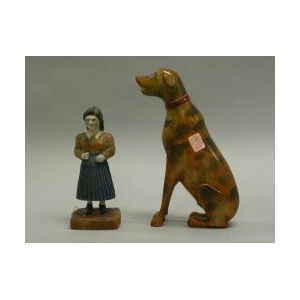 Polychrome Painted and Carved Wooden Figures of a Woman and a Dog.