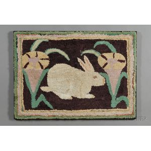 Cotton and Wool Figural Hooked Rug with a White Rabbit and Flowers