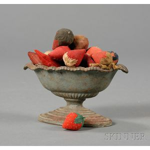 Small Blue-painted Cast Iron Urn Filled with Strawberry-form Pincushions and   Emories
