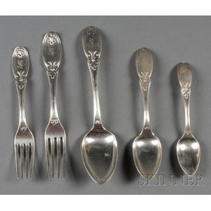 Group of Taylor & Lawrie Coin Silver Flatware