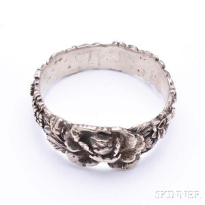 Silver-plated Floral-decorated Bangle