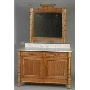 Napoleon III Faux Bamboo and Marble-top Dressing Chest