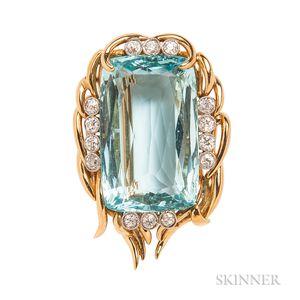 18kt Gold, Aquamarine, and Diamond Brooch