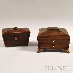 Georgian Inlaid Mahogany Tea Caddy and Sewing Box