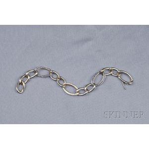 18kt White Gold, Sapphire, and Diamond Bracelet, Valente