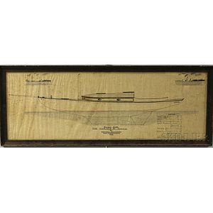 Framed Pen and Ink Yacht Plan on Silk