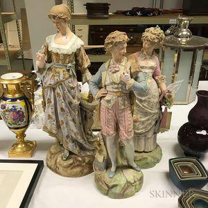 Three Large Bisque Figures