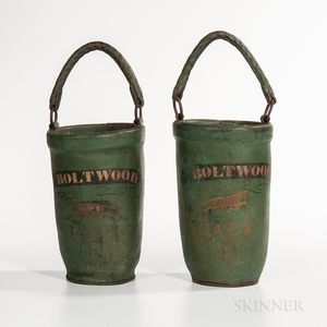 Pair of Green-painted and Decorated Leather Fire Buckets