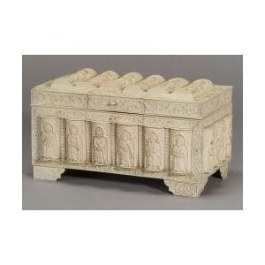 Continental Gothic Revival Carved Ivory and Bone Veneered Casket