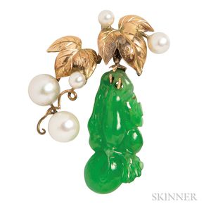 14kt Gold, Jade, and Cultured Pearl Pendant