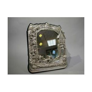 Sterling Silver Repousse Snow White and The Seven Dwarves Table Mirror.