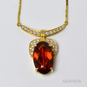 18kt Gold, Citrine, and Diamond Pendant