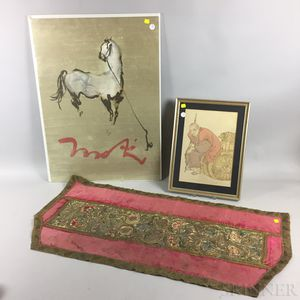 Two Asian Prints and a Continental Textile.     Estimate $20-200